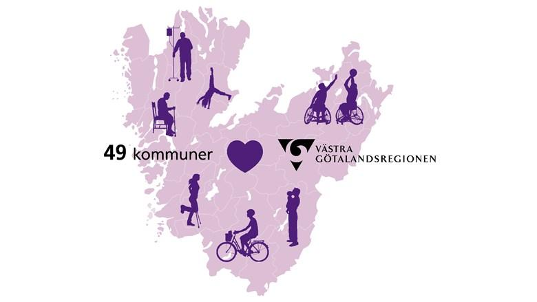Illustration som visar karta över Västra Götaland och tecknade människor i olika åldrar som är utspridda över hela området.
